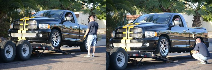 Graeman guiding the new owner as he unloads his new vehicle, the SRT10 Viper Truck.